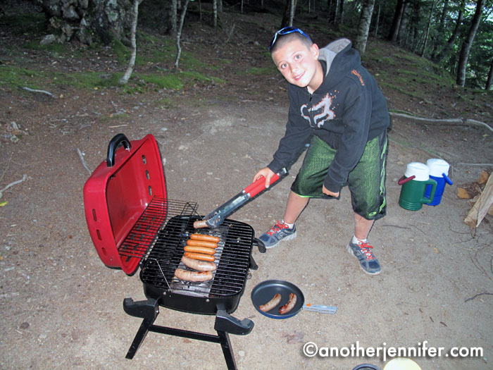 G got to do some cooking with Dad while we camped. He even planned our menu for the week, which included
