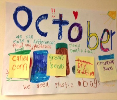 A food drive poster made by an elementary school student for the Woodside Elementary School food drive.