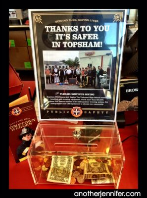 Local donation box by the register at the Topsham Firehouse Subs.